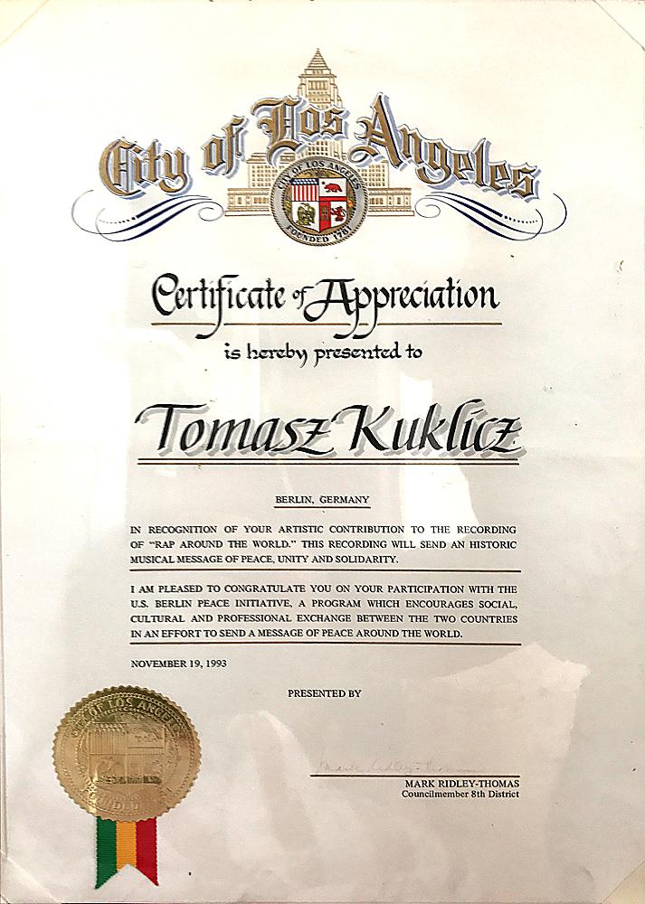 1993: Auszeichnung des Senats von Los Angeles für außergewöhnlichen  Kulturbeitrag, Solidarität & Völkerverständigung