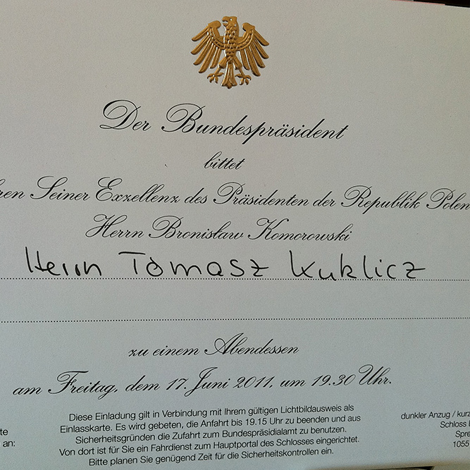 Dinner with the President of Germany and the President of Poland