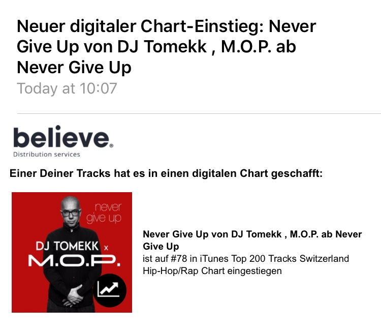 """JUNE 21, 2019 Release """"Never Give UP"""" 1st Day Chart position 78"""